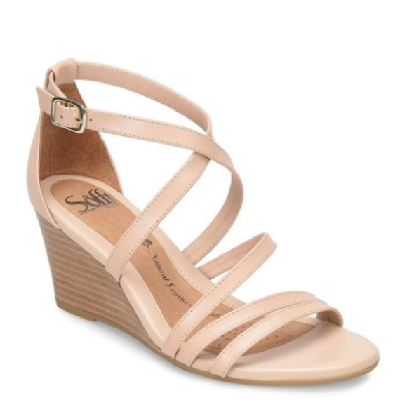 7c6f13559bf Sofft Blush Pink Leather Mecina Wedge Sandals IOB